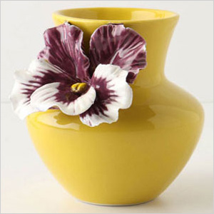 Yellow pansy vase