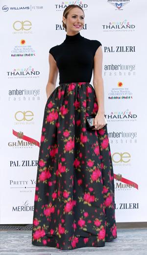 Stacey Keibler wearing Michael Kors floral print dress