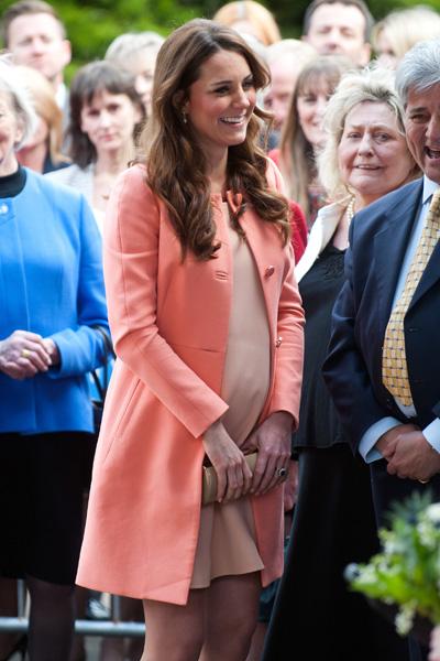 Pregnant Kate Middleton peach dress