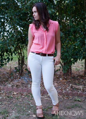 White jeans and a pink shirt