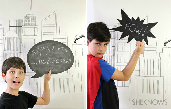Man of Steel party props: Chalkboard city silhouettes and comic bubbles