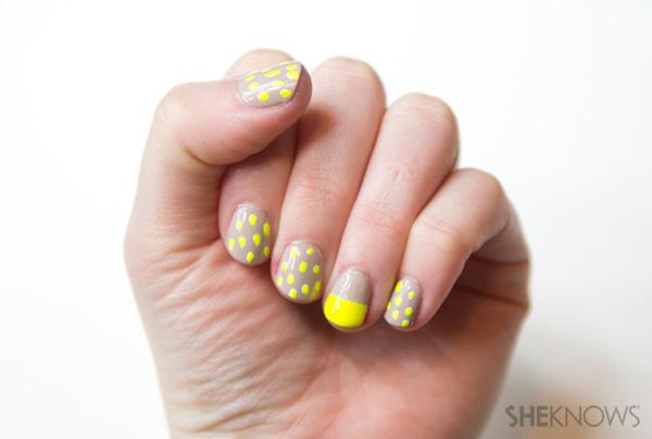 Neon yellow and tan nail design