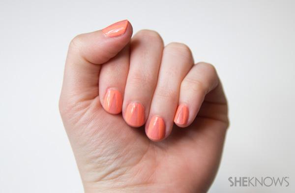 A sheer nail design