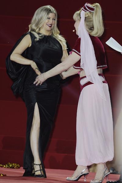 Pregnant Fergie and Barbara Eden in