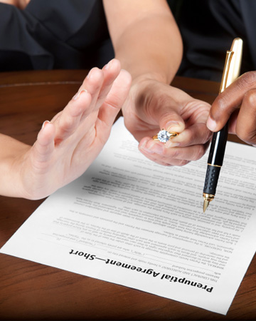 Woman signing prenup
