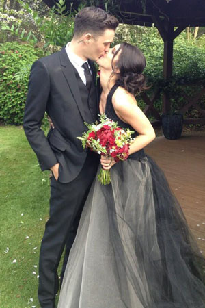 Shenae Grimes' black wedding dress
