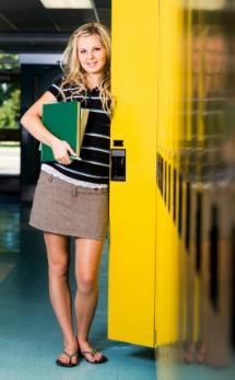 Tween girl at school