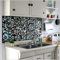 colored mosaic backsplash
