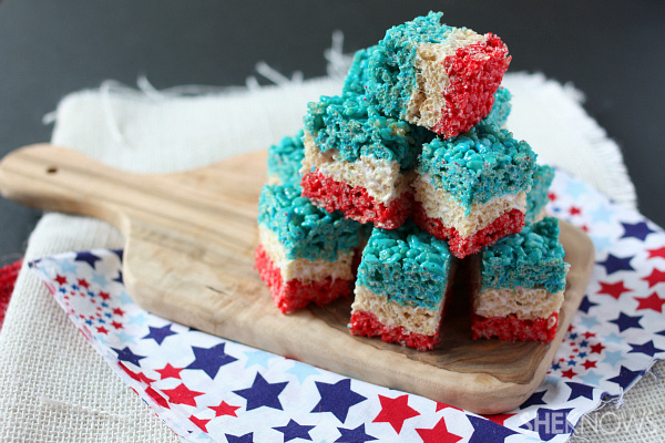 4th of July layered krispy treats
