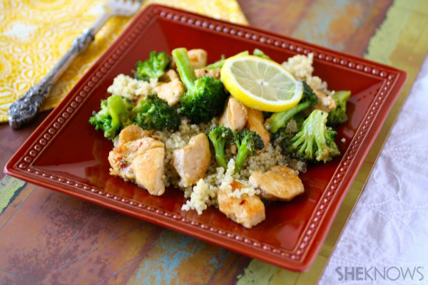 Chicken and broccoli stir fry over quinoa