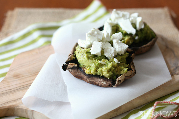 Goat cheese and avocado stuffed Portobello mushrooms