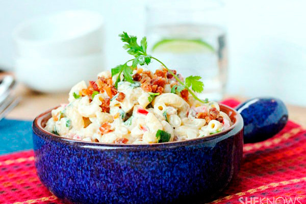 Macaroni salad with bacon and cilantro recipe