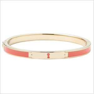 Fossil Keyhole Bangle - Coral