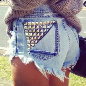 Customized Studded High-Waisted Shorts from Etsy
