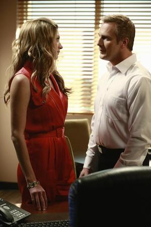 Joss talks to her boss in Mistresses