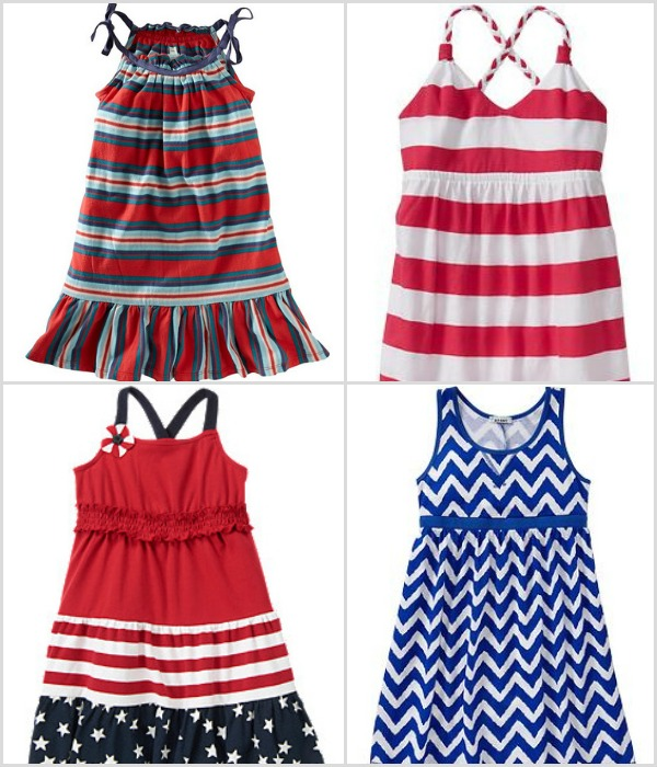 Just like her older sister, your baby girl will also look adorable as she celebrates the birth of our nation in Fourth of July baby clothes like fun, multicolored jumpers and polka-dotted capris. Complement your young lady's Fourth of July dresses with fancy shoes from Joyfolie in deep blue or striped with a cute flower accent, available in a range of sizes.