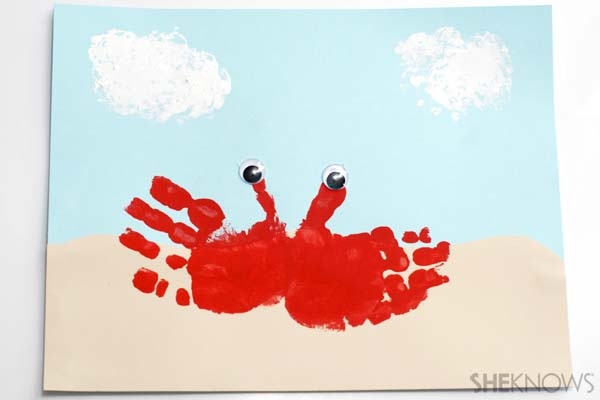 Handprint crab craft - Ocean crafts for kids