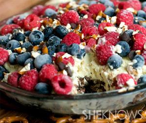 No bake pretzel and berry ice cream cake