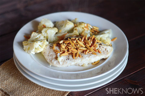 baked chicken and cauliflower with almonds