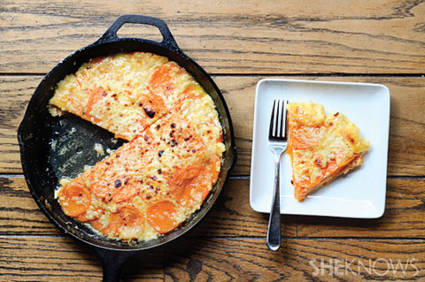 White cheddar baked sweet potato gratin