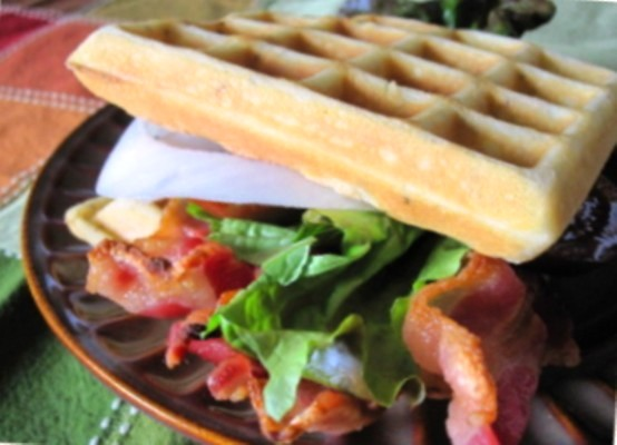BLT (and Onion) Waffle Sandwich