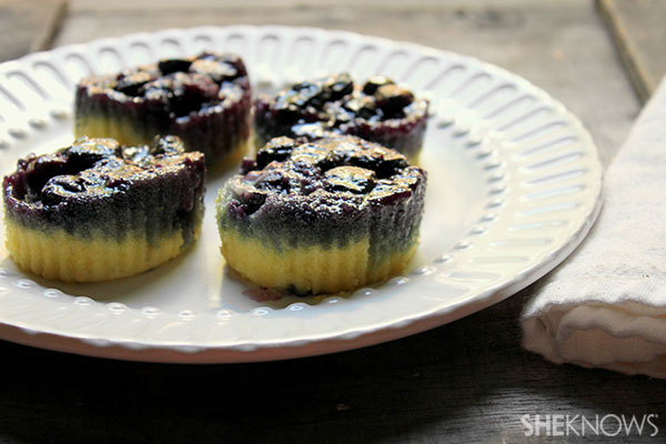 Blueberry upside-down cupcakes