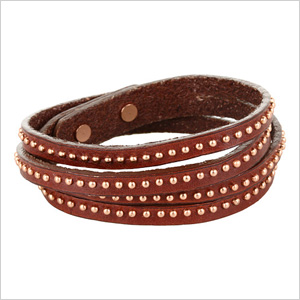 Brown Studded Double Wrap Cuff