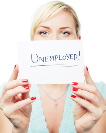 Woman holding unemployed sign