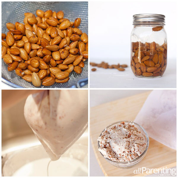 allParenting homemade almond milk steps collage