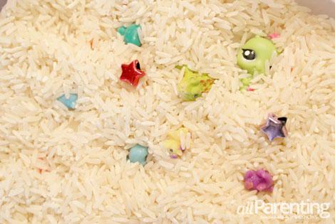 fine motor skills activities- rice treasure hunt