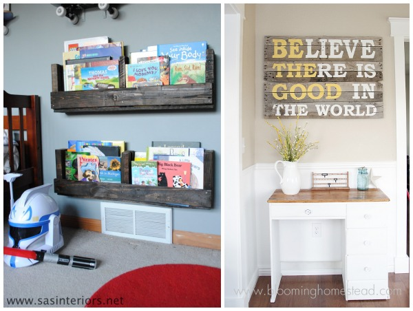 pallet inspiration bookshelves and wall art