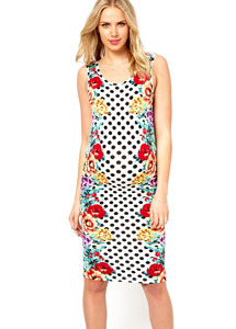 ASOS Maternity Midi Bodycon Dress in Spot Floral