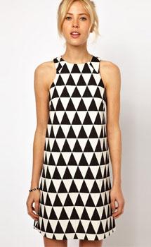 ASOS Shift Dress In Triangle Jacquard