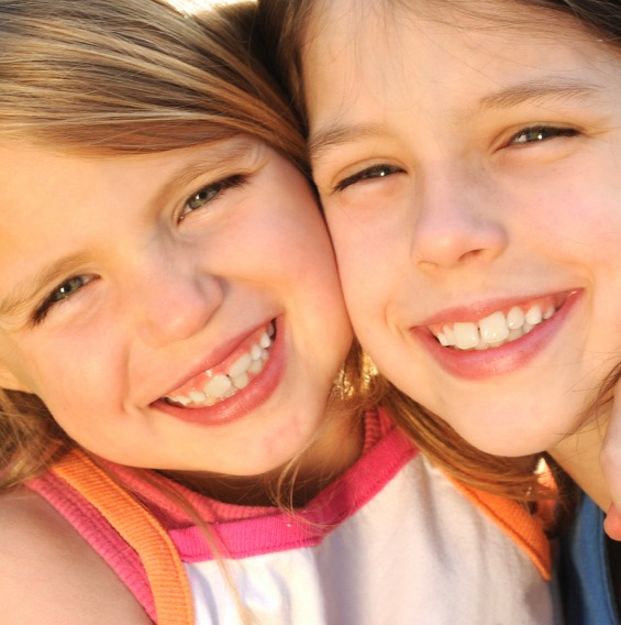 Two young girls who are friends