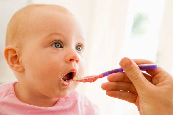 Baby eating foods