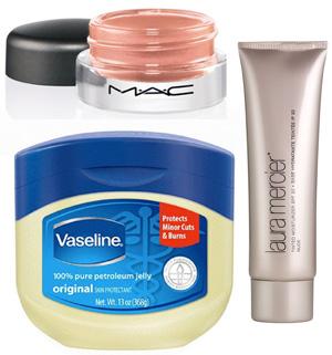 MAC paint pot, Vaseline, and Laura Mercier Tinted Moisturizer