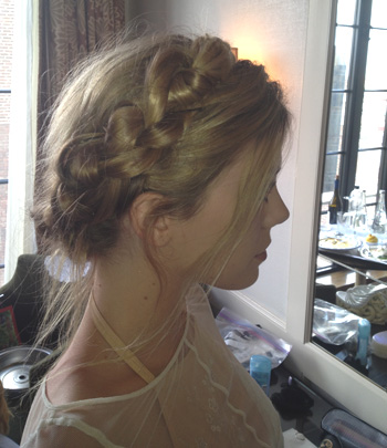 Claire Julien's low knotted Halo braid
