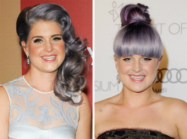 Kelly Osbourne with and without bangs