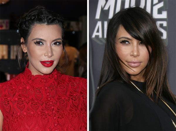 Kim Kardashian with and wthout bangs