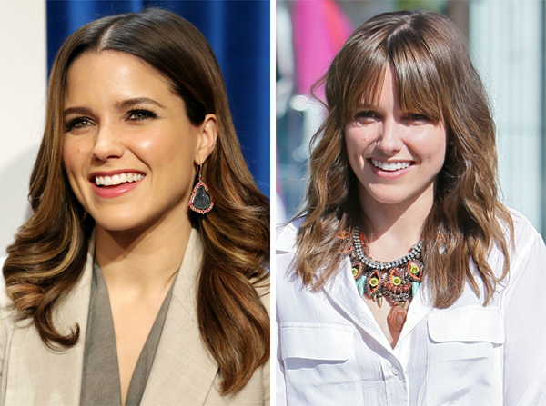 Sophia Bush with and without bangs