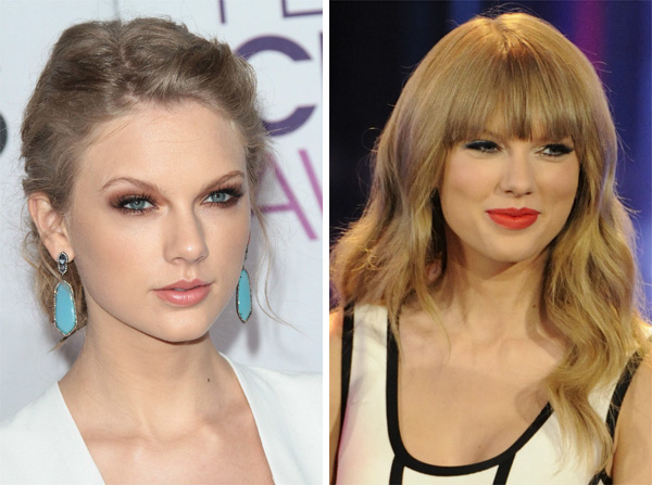 Taylor Swift with and without bangs