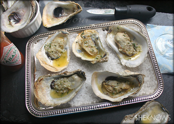 Easy grilled oysters with herbed garlic butter