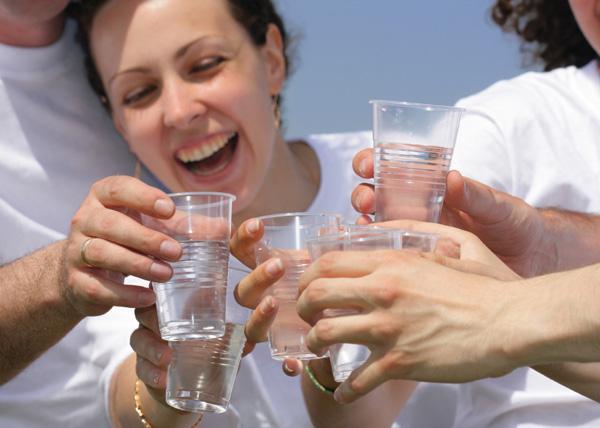 Friends drinking water
