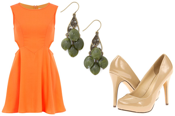 Military green and orange for date night