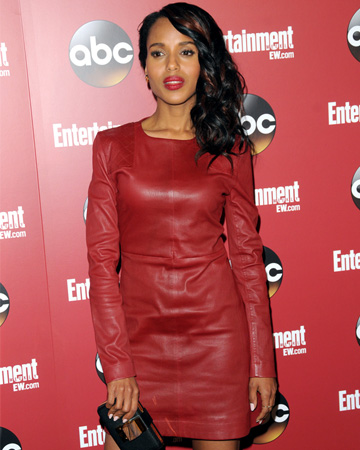 Kerry Washington wearing a red leather dress