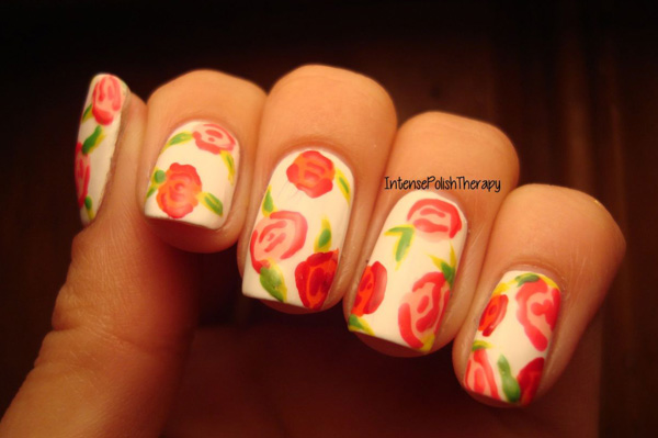 nail art flowers from Intense Polish Therapy