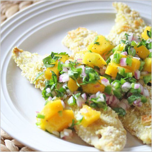 Mango and coconut-crusted snapper recipe