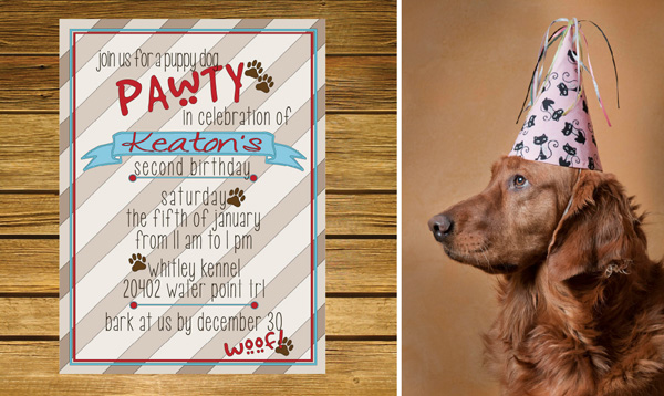 Birthday party invitation for dogs