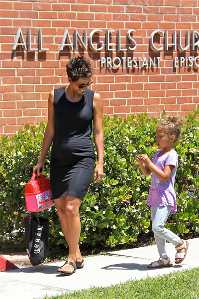 Pregnant Halle Berry and Nahla