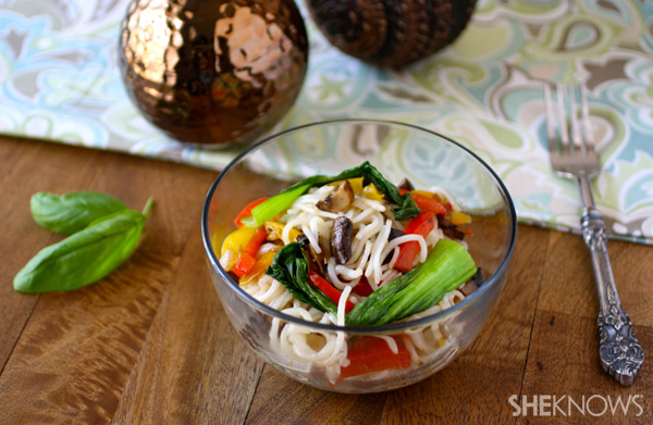 Rice noodles with veggies and Thai basil sauce